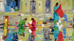 On The Ghats, Udaipur by Jeffrey Pratt - Original Painting on Board sized 21x12 inches. Available from Whitewall Galleries